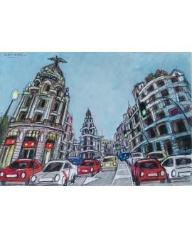 Pintor Jose Alcala  Gran Via en ojo de Pez pintura Giclee Reproduccion