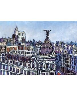Jose Alcala Vista aerea en Gran Via Metropolis Pintura Giclee Reproduccion