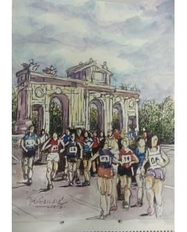 Pintor Jose Alcala Marathon popular en La Puerta de Alcala Reproduccion