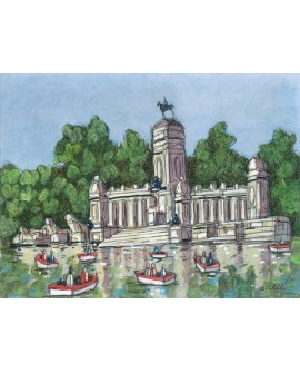 Jose Alcala Estanque Parque del Retiro Pintura Giclee Reproduccion Home