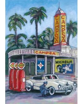 Pintor Jose Alcala Gasolinera Campsa Michelin pintura Giclee