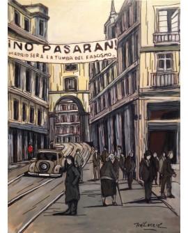 Pintor Jose Alcala NO PASARAN Cuadro Vintage pintura Giclee