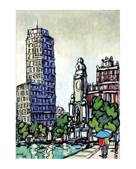 Jose Alcala Plaza de España de Madrid Pintura Giclee Reproduccion Home