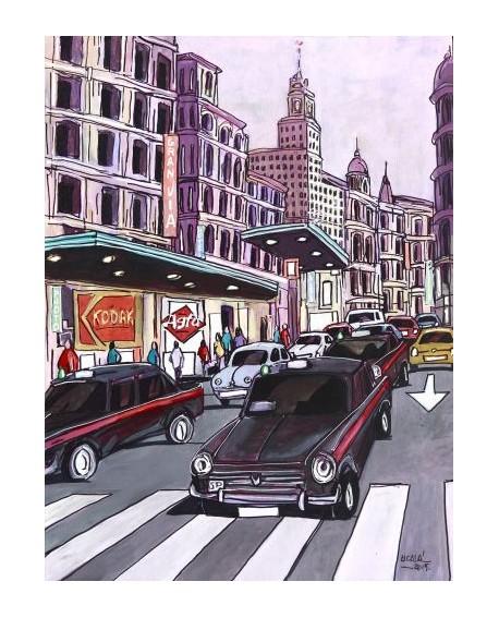 Pintor Jose Alcala Taxis Seat 1500 en la Gran Via pintura Giclee Home