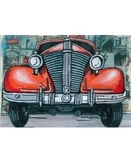 Pintor Jose Alcala El auto de los 500000 Km  pintura Giclee Reproduccion
