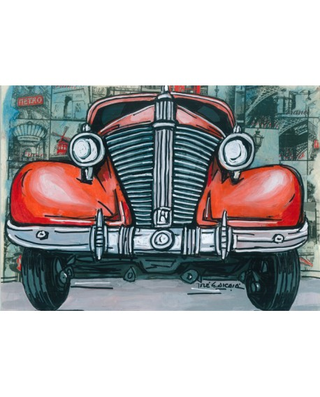 Pintor Jose Alcala El auto de los 500000 Km pintura Giclee Reproduccion Home