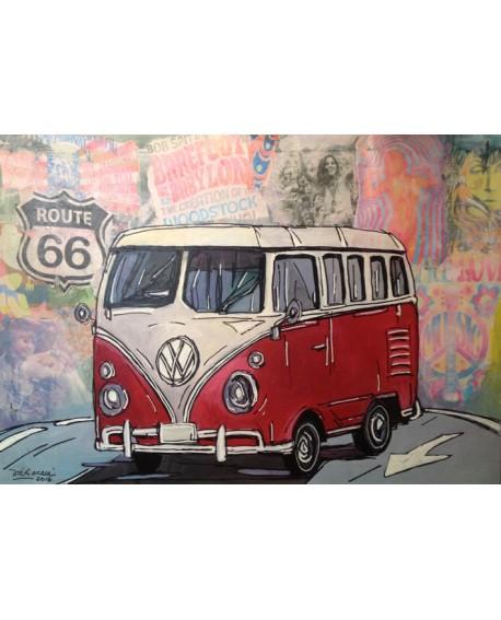 Pintor Jose Alcala Volkwagen Furgoneta Hippie Ruta 66 Reproduccion Home