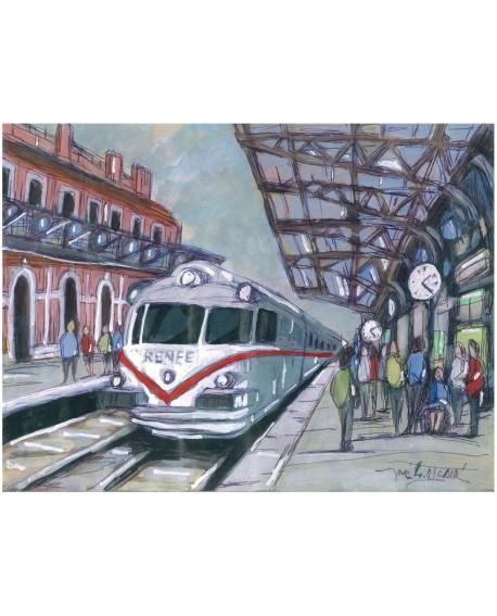 Jose Alcala Estacion de Trenes Modernos Pintura Giclee Home