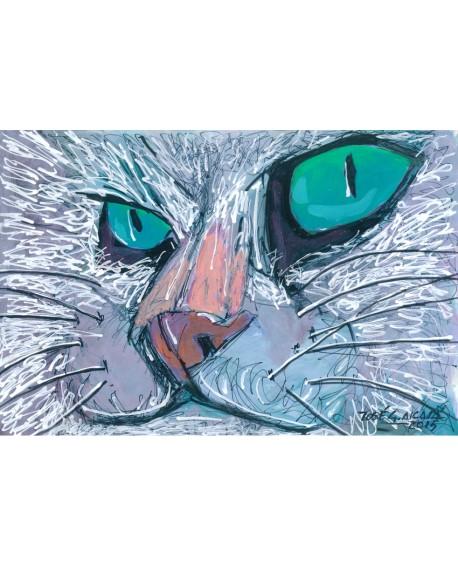 Pintor Jose Alcala El Rey Felino Gato Cuadro pintura Giclee Home