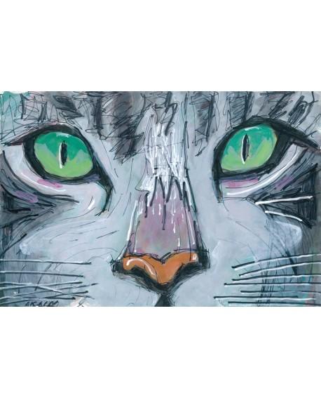Pintor Jose Alcala Mirada Felina Gato Cuadro pintura Giclee Home
