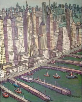 Pintor Jose Alcala New York Manhattan 2 pintura Diptico