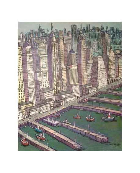 Pintor Jose Alcala New York Manhattan 2 pintura Diptico Home