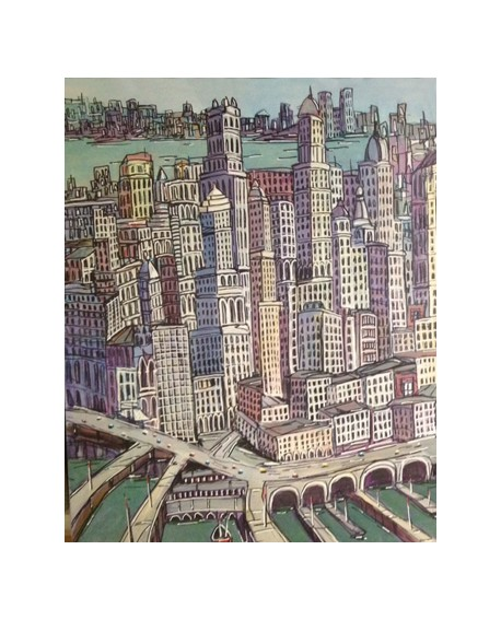 Pintor Jose Alcala New York Manhattan pintura Diptico Home