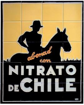 Nitrato de Chile Mural Publicitario Vintage Cuadro efecto ceramico Home