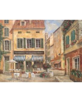Terraza de Bar de Paris cuadro mural Naif Vintage Romantico