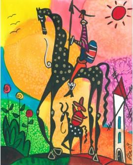Don Quijote y sancho Panza en Cuadro Naif Colorista de Gea Reproduccion