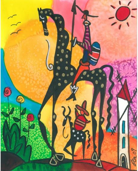 Don Quijote y sancho Panza en Cuadro Naif Colorista de Gea Reproduccion Home
