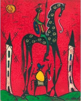 Don Quijote y sancho Panza en Cuadro Naif de Gea Reproduccion Home