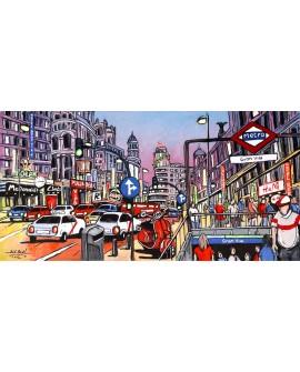 Jose Alcala - Panoramico de la Gran Via de Madrid y Metro Mural Comic Cuadros Horizontales