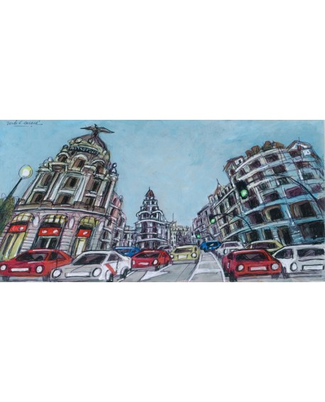 Jose Alcala - Gran Via de Madrid en OJO DE PEZ - Cuadro Mural Naif Cuadros Horizontales