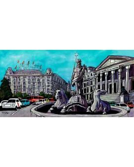 Jose Alcala - Neptuno y las Cortes de España en madrid con el Hotel Palace Cuadros Horizontales