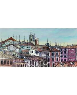 Jose Alcala - Tejados de Madrid Centro Castizo Aereo en Cuadro Cuadros Horizontales