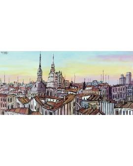 Jose Alcala - Tejados de Madrid con Edificios Famosos Cuadros Horizontales