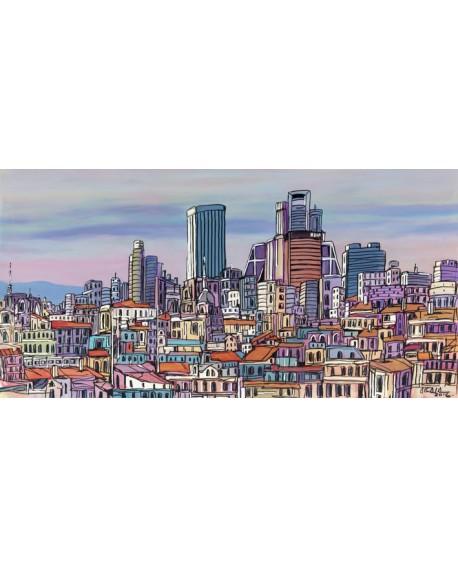 Jose Alcala - Tejados de Madrid con Rascacielos Castellana Cuadros Horizontales