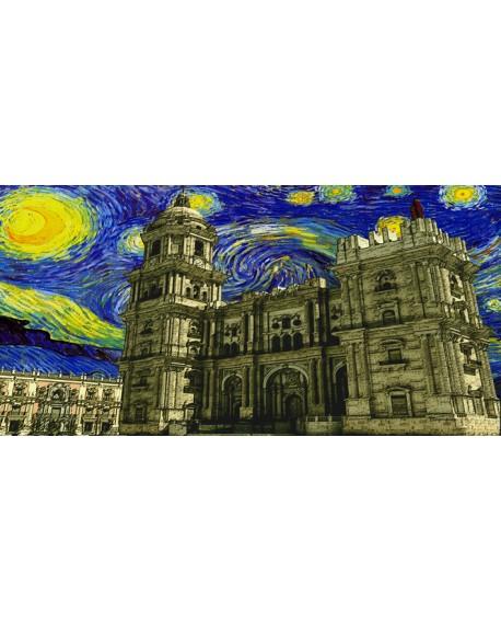 Tony Polonio - Catedral de Malaga impresionista tipo Van Gogh Cuadros Horizontales