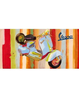 Vespa Pop Art Italiana Scooter Cuadro Decorativo Horizontal