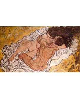 abrazo egon Schiele cuadro impresionista en mural reproduccion Cuadros Horizontales