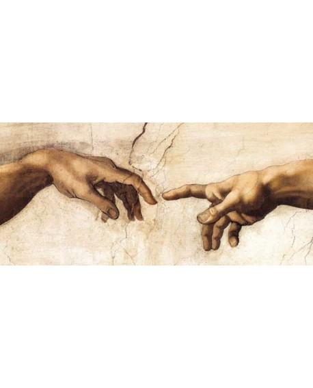 manos creacion Dios y el hombre de Miguel Angel cuadro mural en tablero Cuadros Horizontales