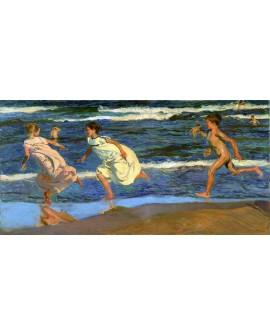 Sorolla juego de los niños en la playas de Valencia Mural impresionista Cuadros Horizontales