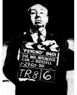 Jose Alcala PSYCO Alfred HITCHCOCK Cuadro retrato de cine en mural