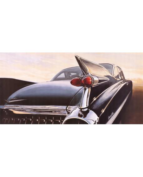 Cadillac Azul Cuadro Hiperrealista de coche americano Vintage Cuadros Horizontales