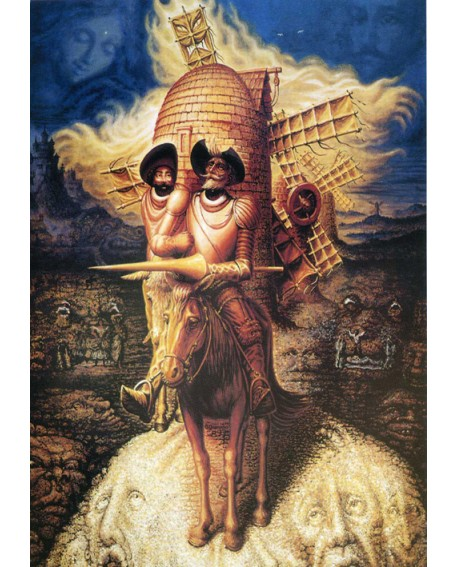 Octavio Ocampo Don Quijote de La Mancha y Sancho Panza en Efecto optico Home