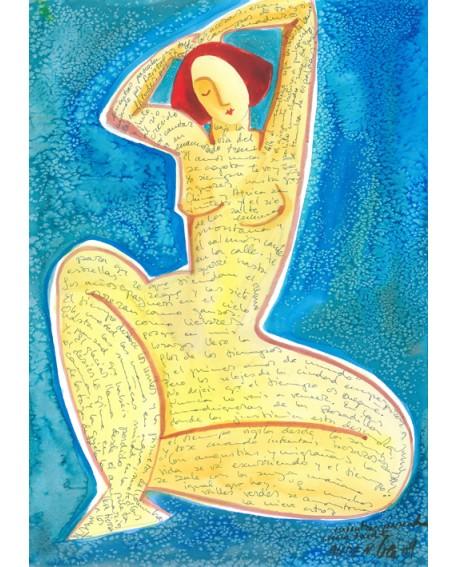 Gea Pintura Naif Española Poetisa Desnuda Cuadro Grande Mural Femenino Home