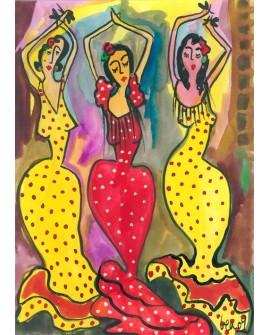 GEA Bailaoras Flamencas en Pintura Naif Española Cuadro grande
