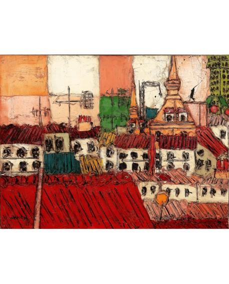 Villanueva Tejados de Madrid Abstractos Pintura Española de la Plaza Mayor Home