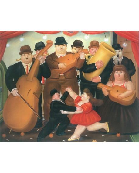 Fernando Botero Baile y orquesta cuadro en mural reproduccion Arte Latino Home