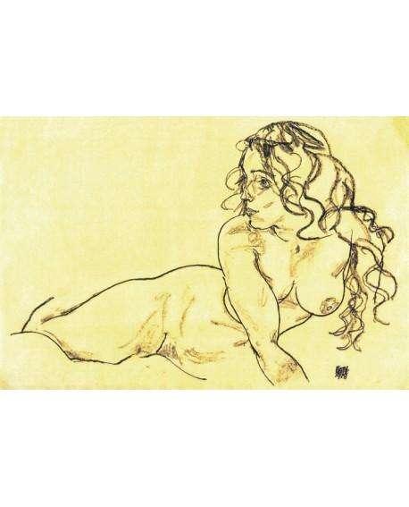 Egon Schielle Desnudo en boceto carbon impresionista reproduccion Home