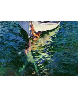 Joaquín Sorolla el bote blanco marina mediterranea con niños Home