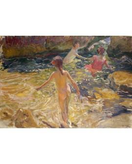 Joaquin Sorolla El Baño de los niños Cuadro Impresionista Valenciano Home