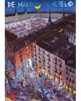 Plaza Mayor Comic Naif de Madrid Cuadro en tablero Pop Art Español