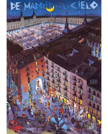 Plaza Mayor Comic Naif de Madrid Cuadro en tablero Pop Art Español Home