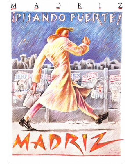 Pisando Fuerte Javier de Juanes MadriZ Cuadro en tablero Pop Art Español Home