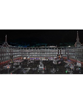 Martha Ulloa Plaza Mayor Madrid Panoramico Pop Art Español Cuadros Horizontales