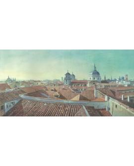 Tejados de Madrid desde Malasaña en Cuadro Pintura Hiperrealista Cuadros Horizontales