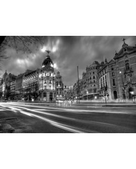 Cuadro Fotografico blanco negro Madrid Luces Metropolis