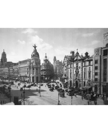 Cuadro Fotografico Madrid 1920 de Gran Via y Calle Alcala Home